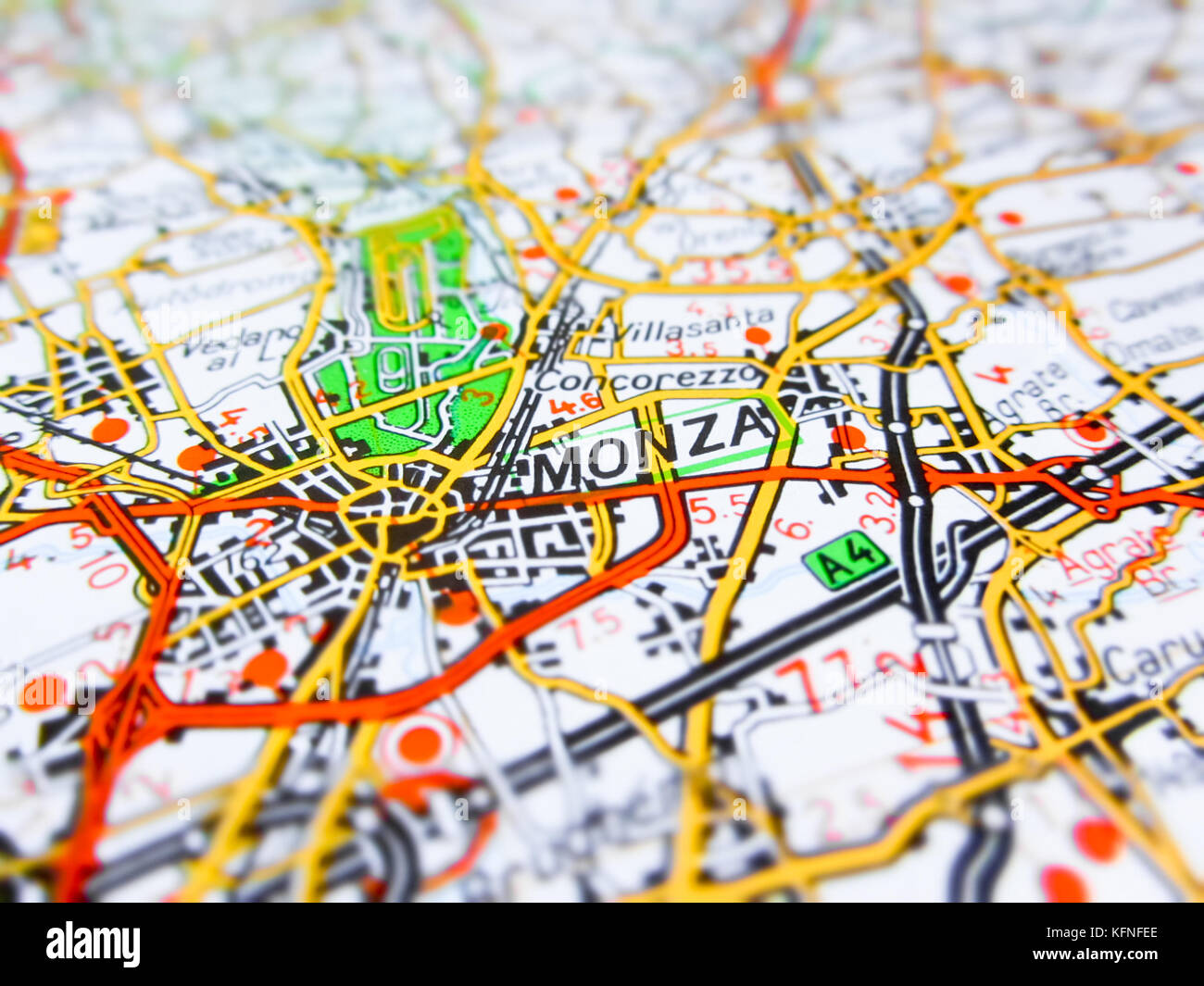 Monza City Over A Road Map Italy Stock Photo 164586310 Alamy