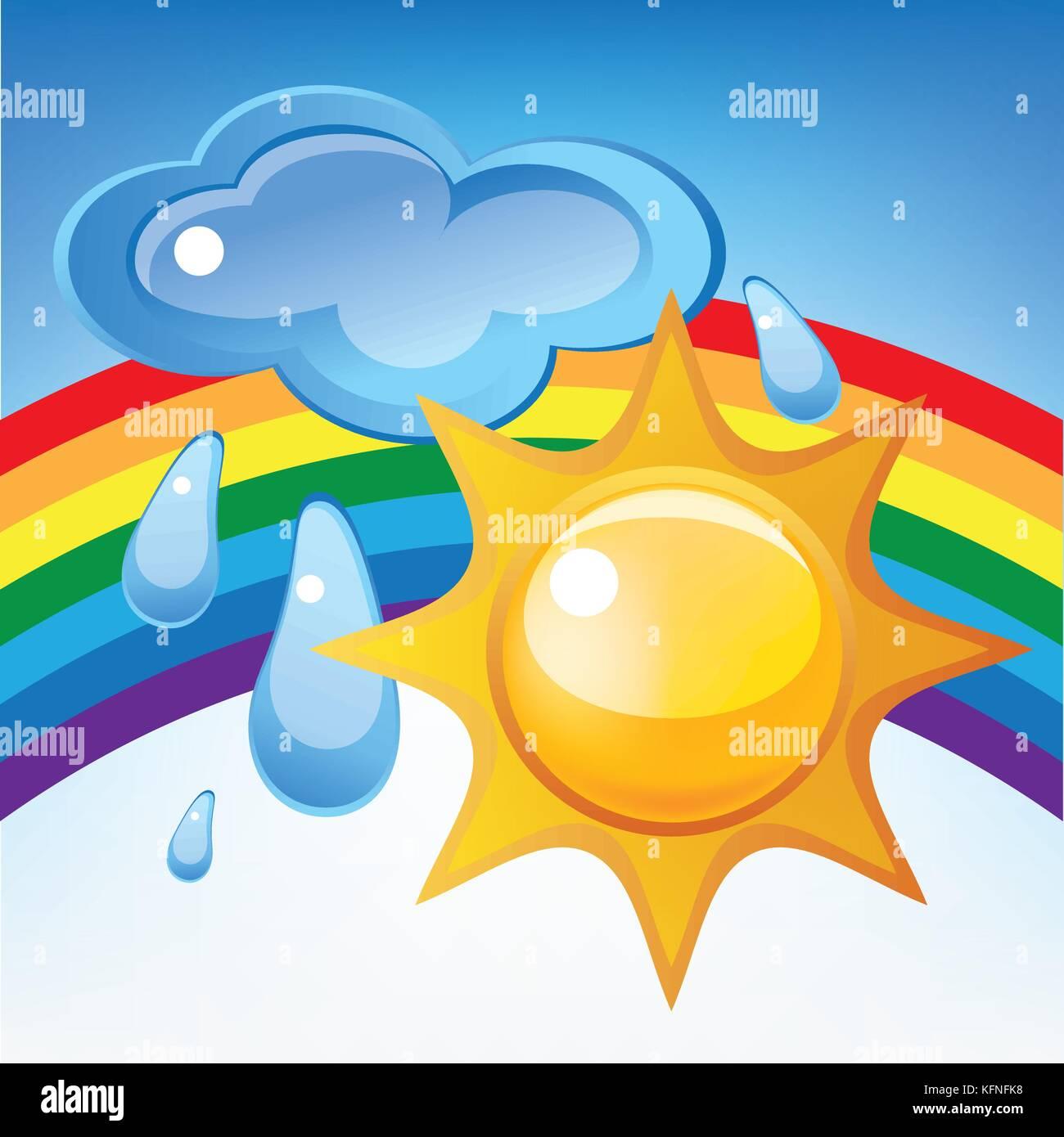 Sun, cloud, rain and rainbow - Stock Image