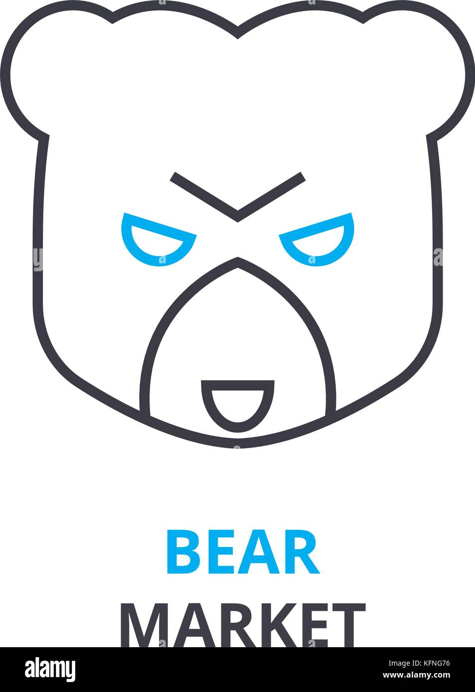 bear market concept , outline icon, linear sign, thin line pictogram, logo, flat illustration, vector - Stock Image