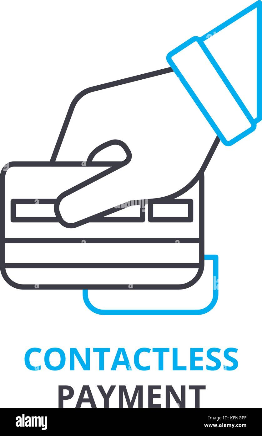 contactless payment concept, outline icon, linear sign, thin line