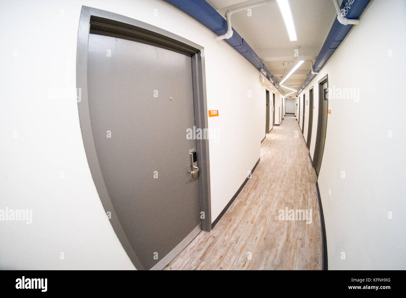 Corridor inside the West Side YMCA hostel, New York City, United States of America. - Stock Image