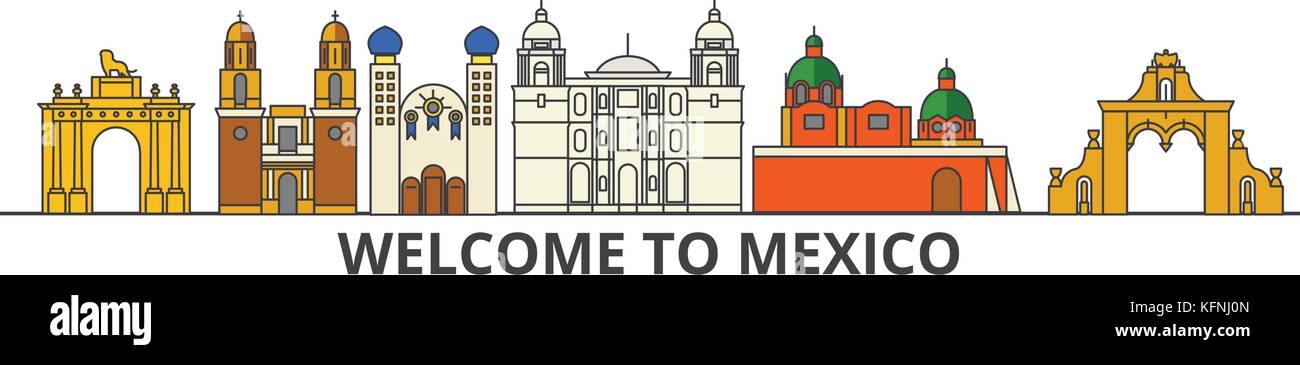 Mexico outline skyline, mexican flat thin line icons, landmarks, illustrations. Mexico cityscape, mexican travel Stock Vector