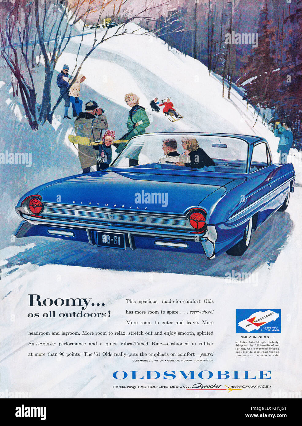 1960 U.S. advertisement for the 1961 Oldsmobile automobile. - Stock Image
