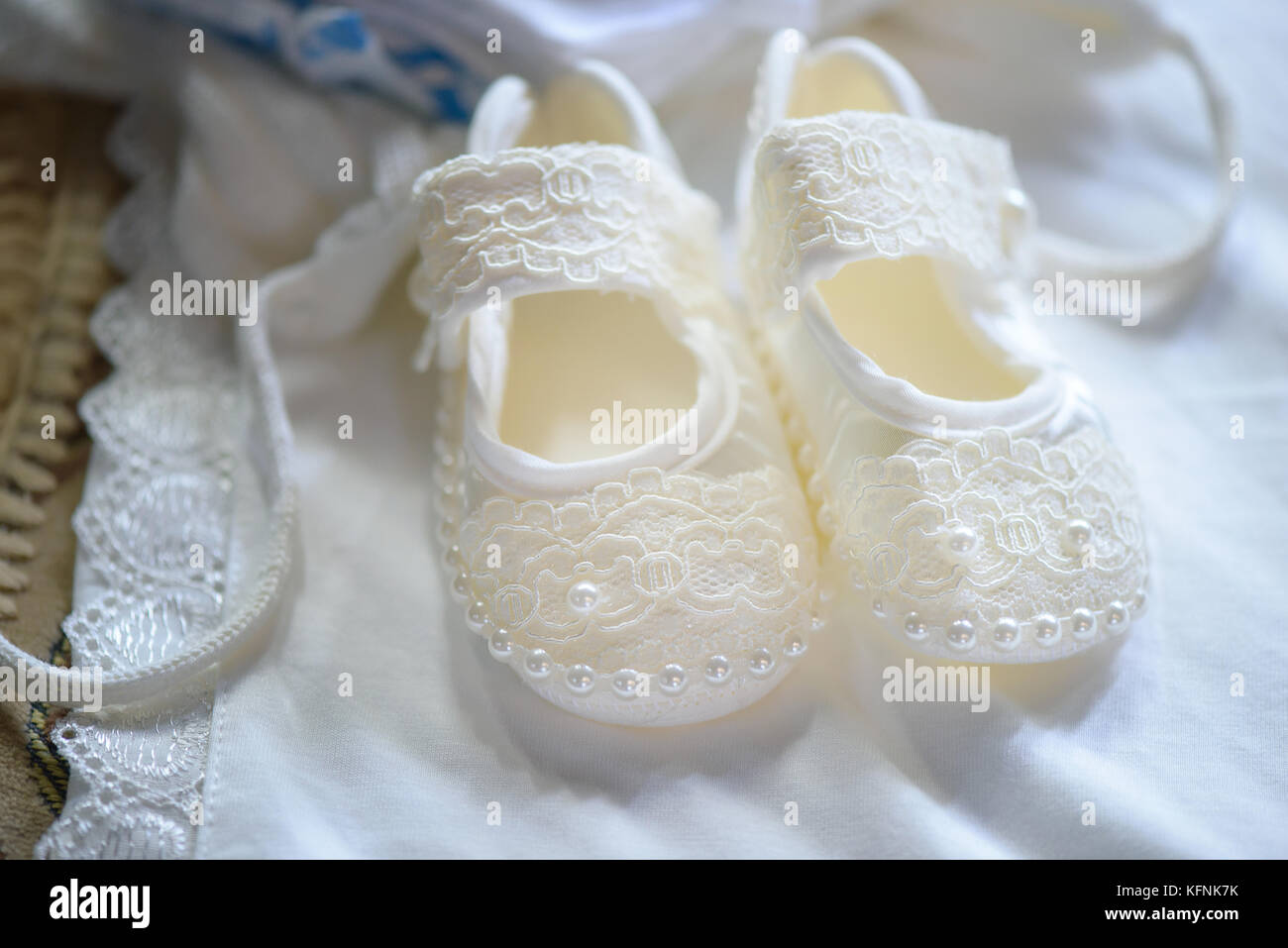 Cute baby girl lace and pearls shoes in