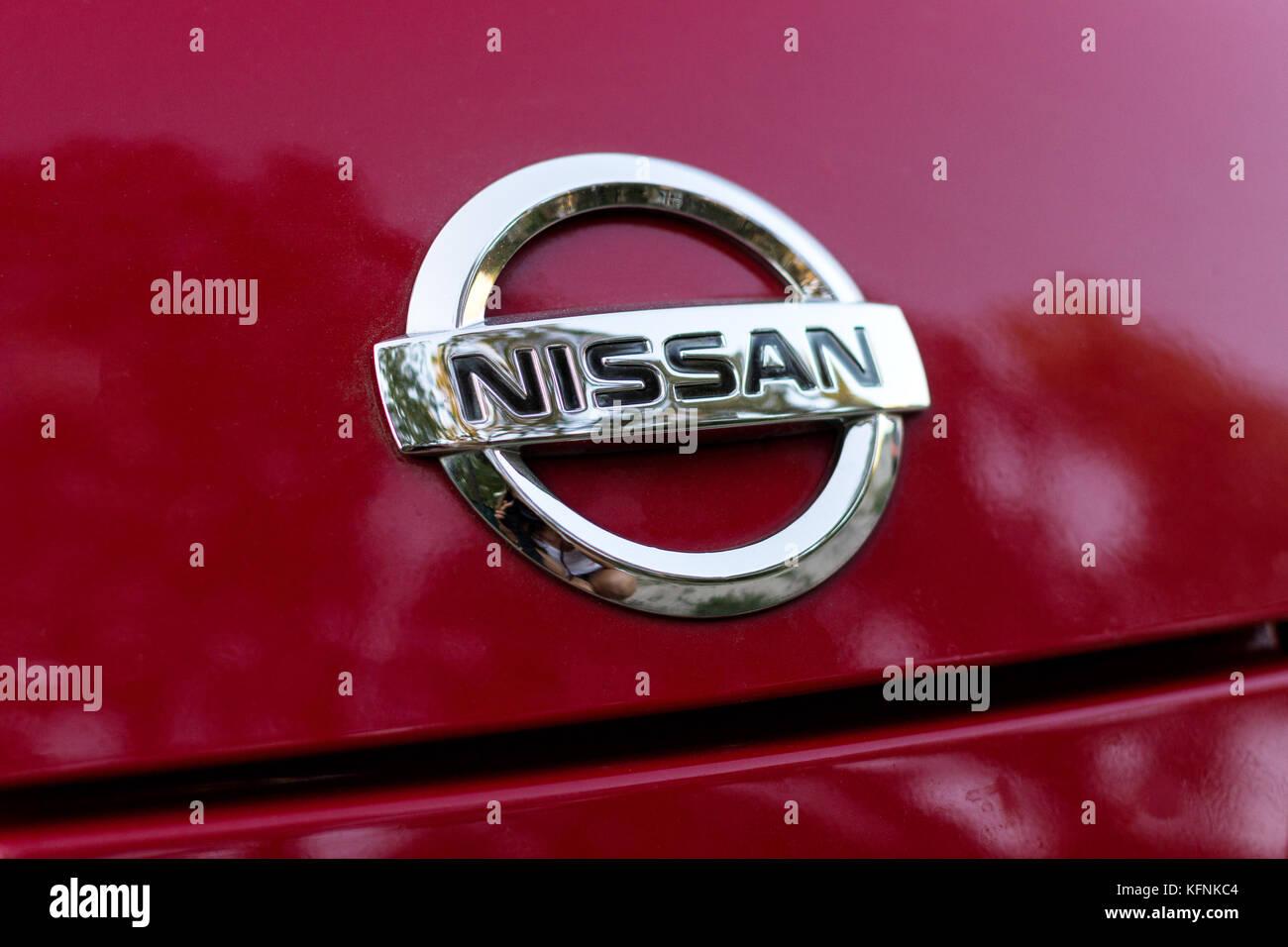 DNIPRO, UKRAINE - AUGUST 10, 2013: NISSAN CAR LOGOTYPE CLOSE - Stock Image