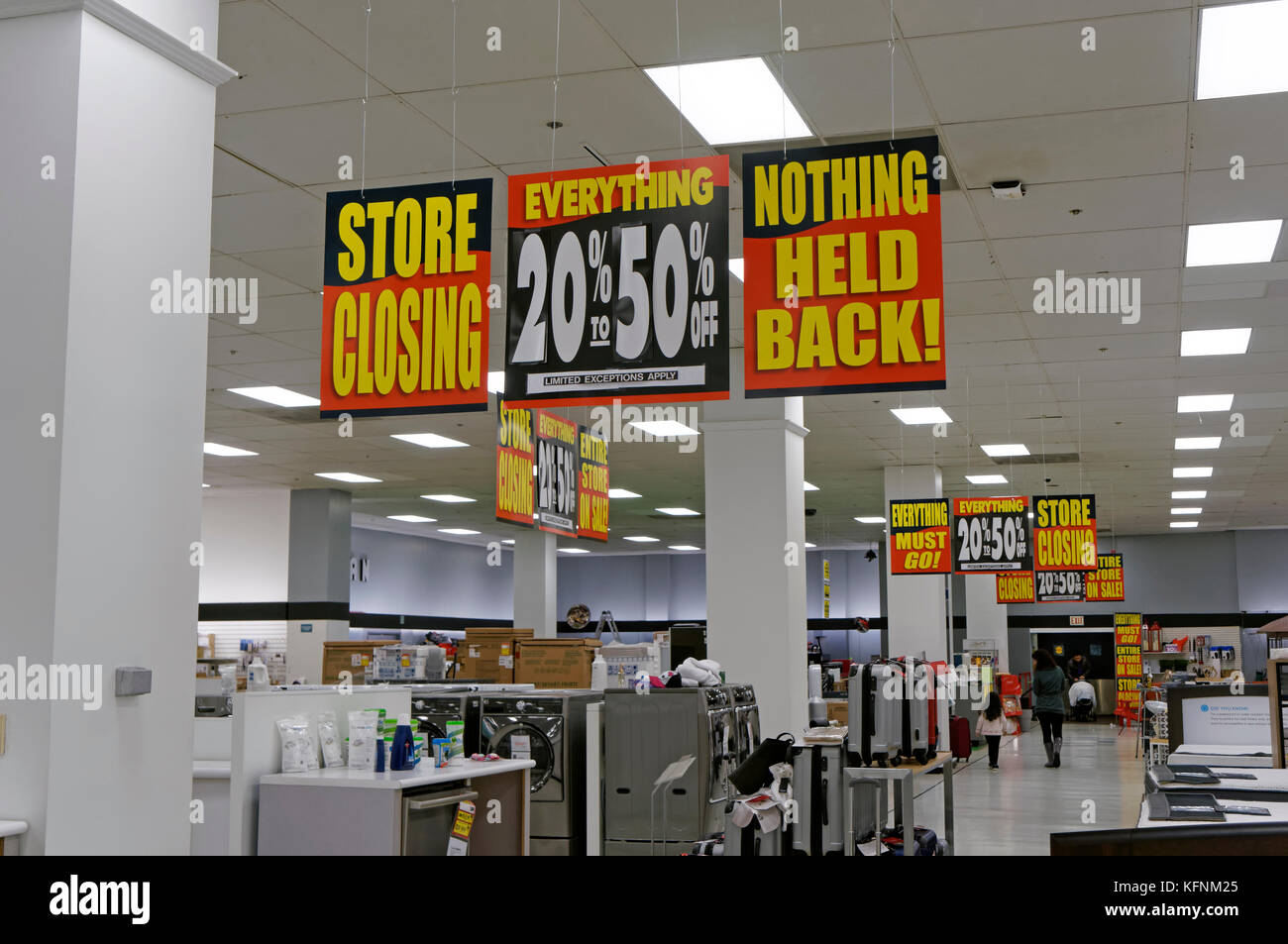 Store closing sale sign 2017 inside Sears Canada department store In Capilano Mall, North Vancouver, BC, Canada - Stock Image