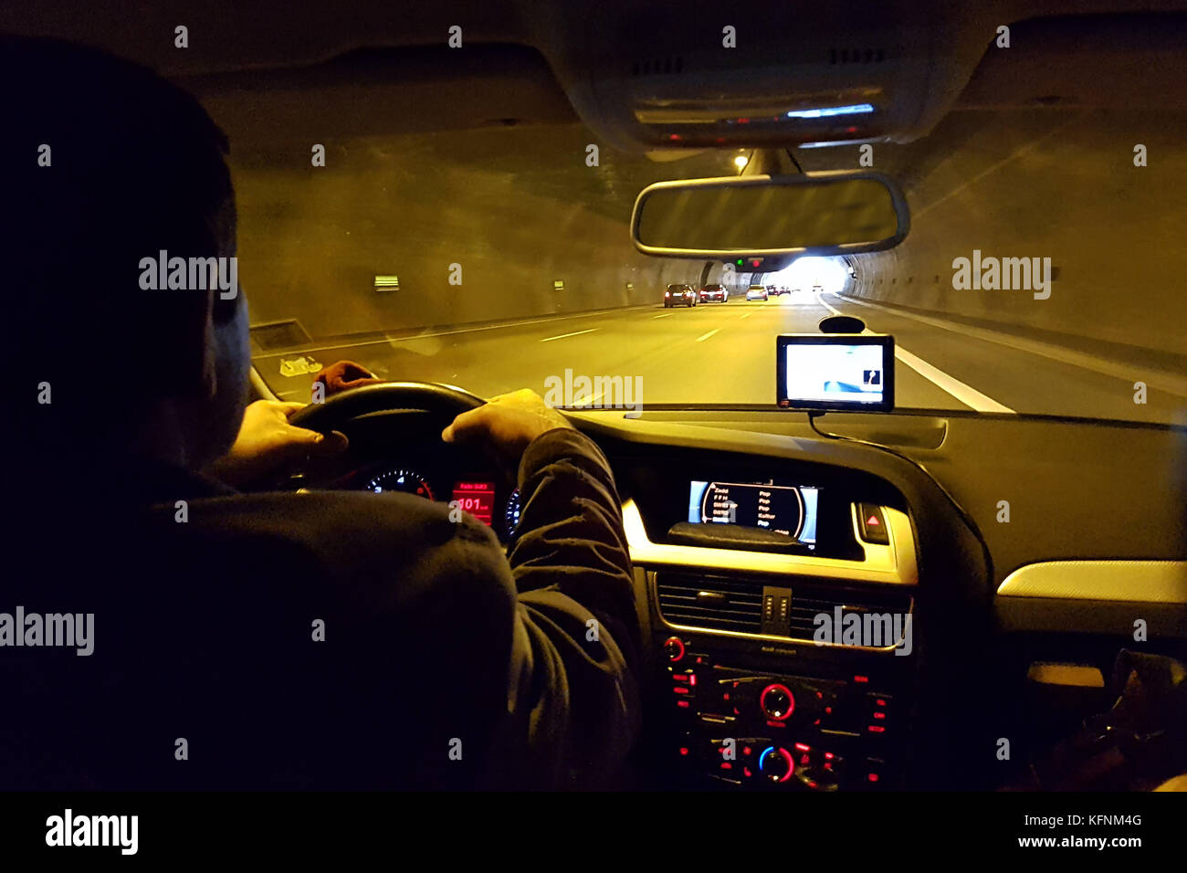 Close-up of gps navigation system In car - Stock Image