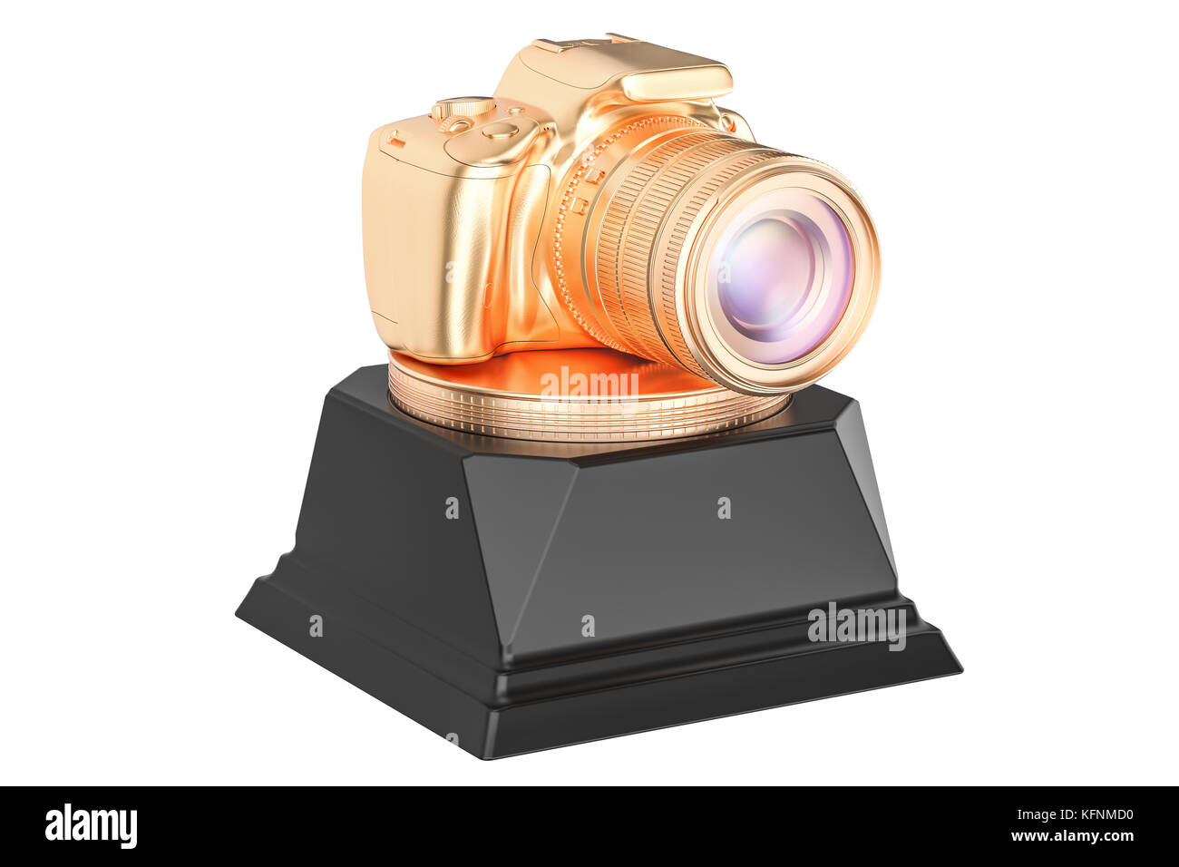 Best Photo or Photographer Golden Award concept. 3D rendering isolated on white background - Stock Image