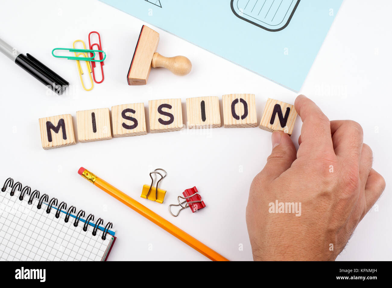 mission concept. Wooden letters on a white background - Stock Image