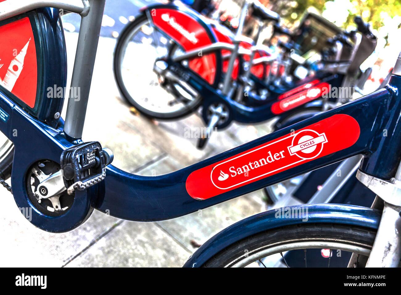 Santander cycles, self service cycle hire, London, England, UK. - Stock Image