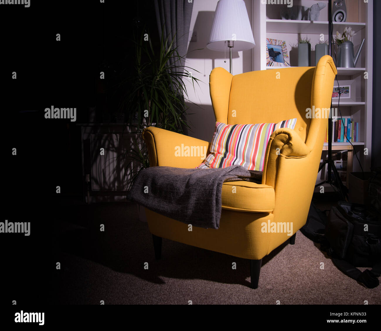 Yellow vintage armchair - Stock Image