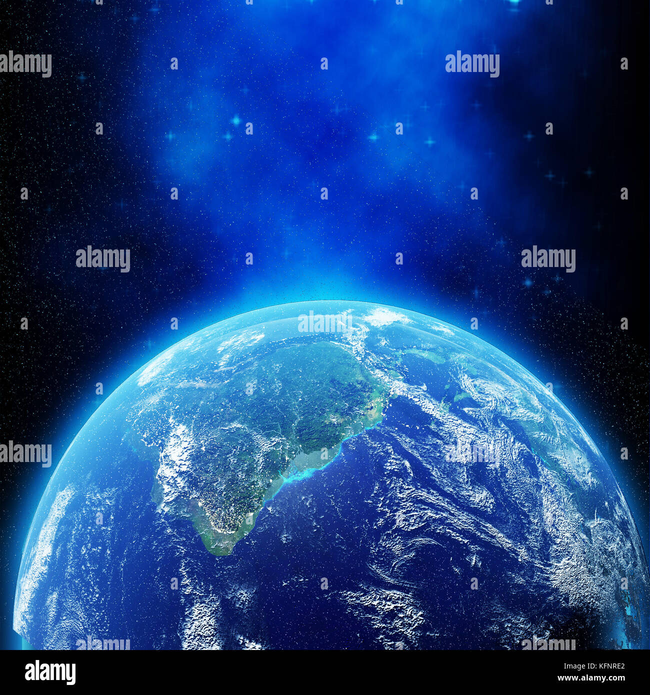 View of planet earth from space with light effect in 3D rendering. Elements of this image furnished by NASA - Stock Image