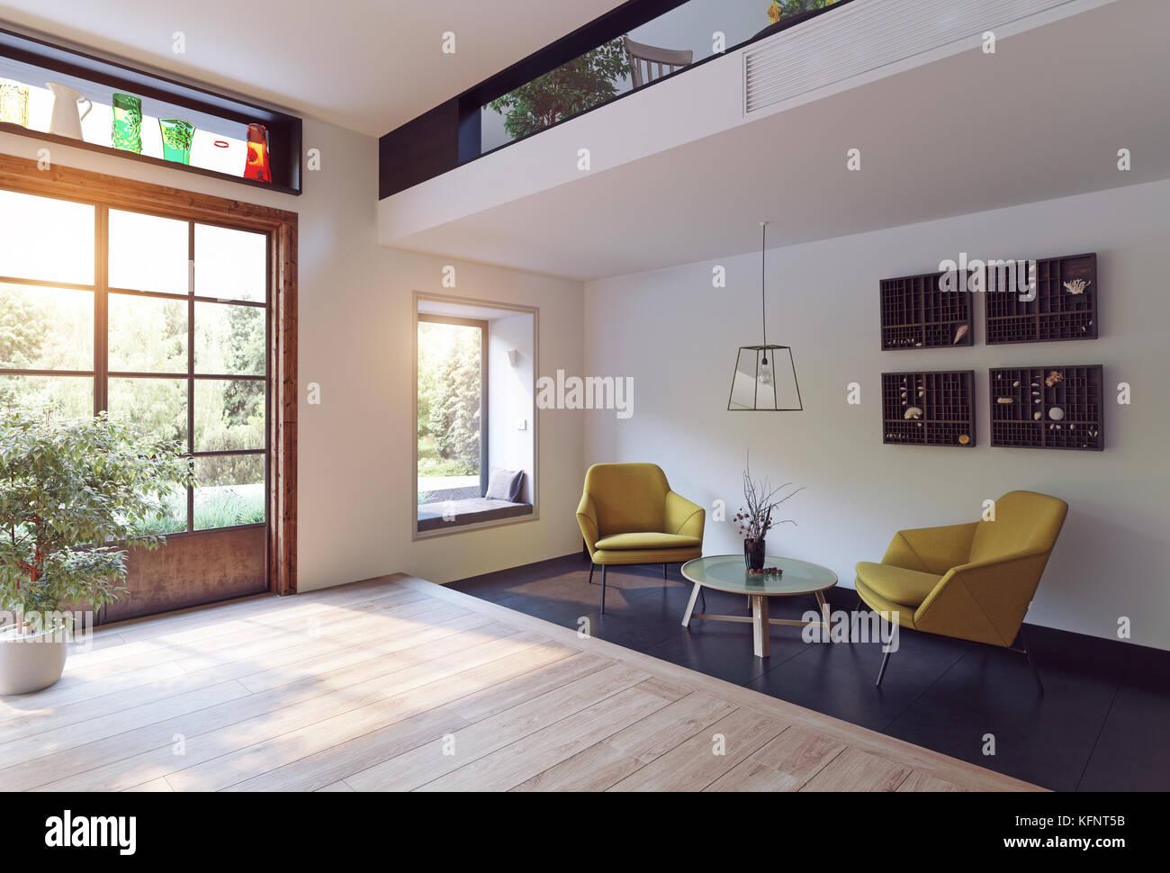Modern interior rendering concept. 3d illustration - Stock Image