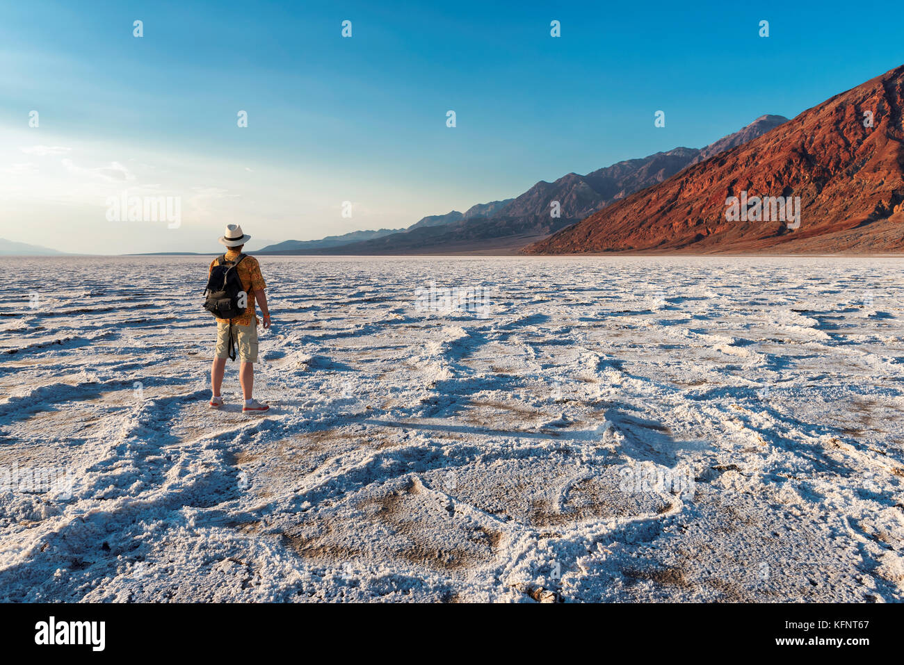 Badwater at sunset in Death Valley National Park - Stock Image