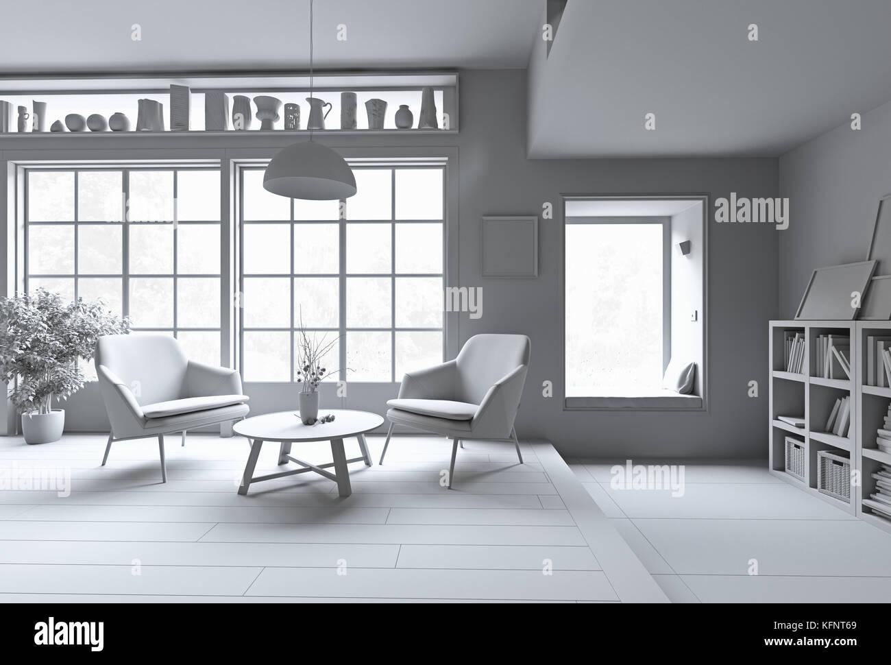 Modern interior. White rendering concept. 3d illustration - Stock Image