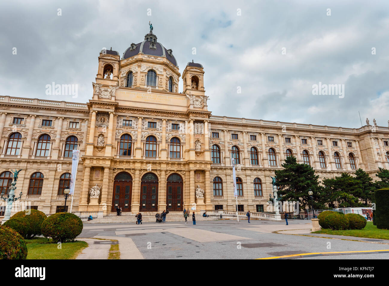 Vienna, Austria - 13 October, 2016: View of famous Natural History Museum with park and sculpture in Vienna, Austria - Stock Image