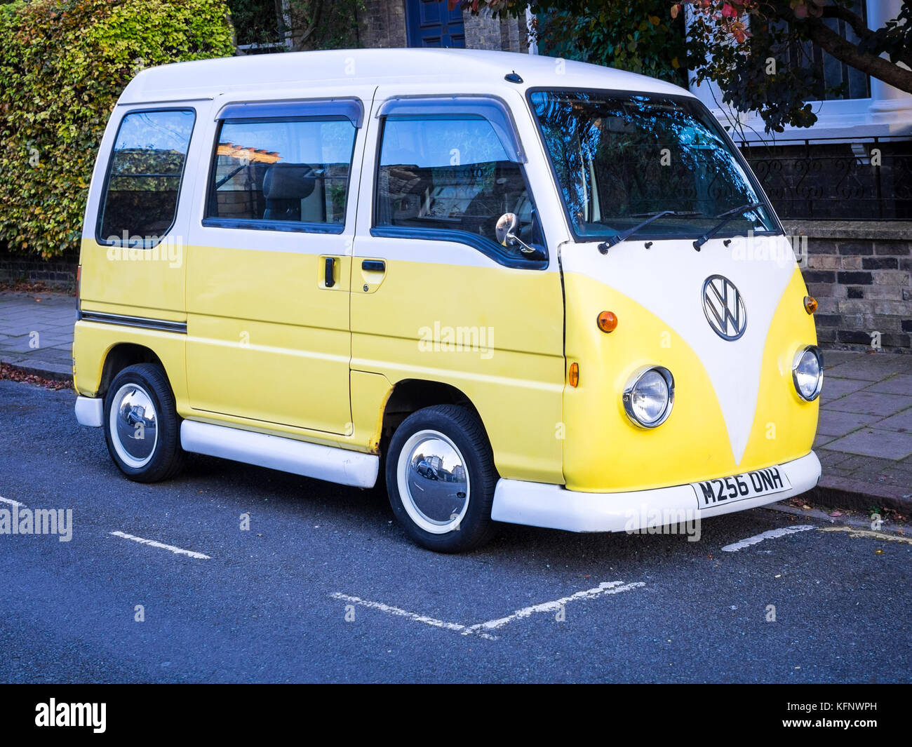 Fake VW Camper Van - a Subaru Sambar van tricked out as VW Camper Van - Stock Image