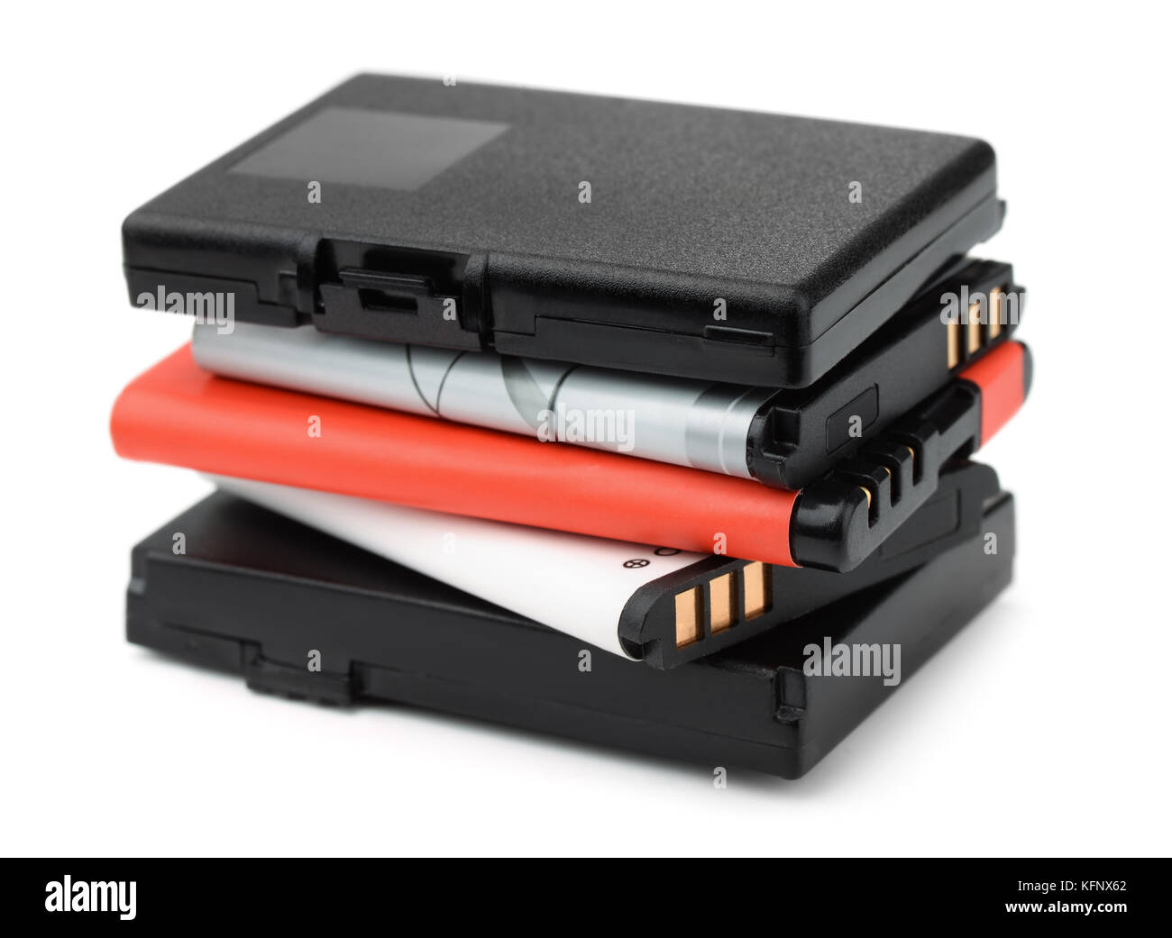 Stack of rechargeable lithium-ion batteries isolated on white - Stock Image