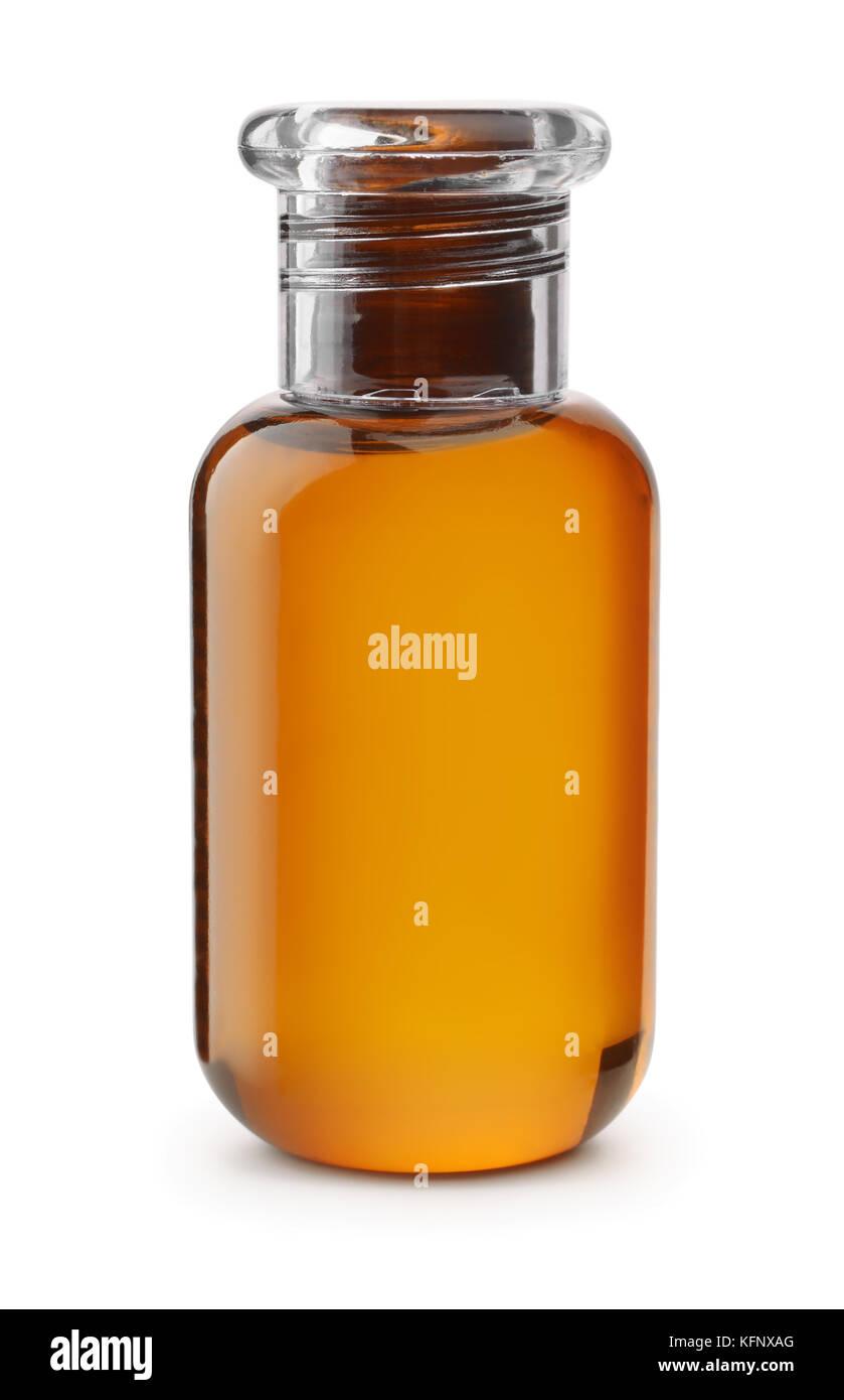 Small plastic shampoo bottle isolated on white - Stock Image