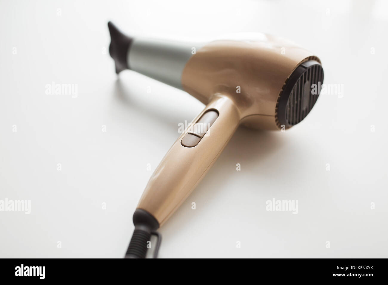 hairdryer on white background - Stock Image