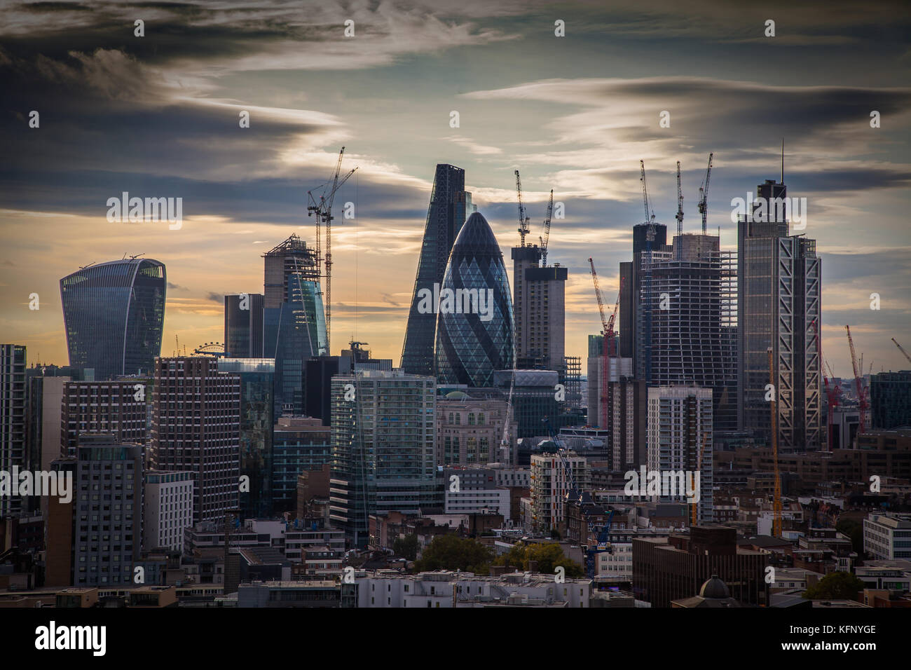 City of London inc The Scalpel (under construction) Heron Tower, The Gherkin/St Marys Axe, The Cheesegrater/Ledenhall, - Stock Image