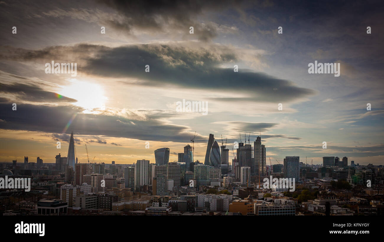 City of London inc Shard, Scalpel (under construction) Heron Tower, The Gherkin/St Marys Axe, The Cheesegrater/Ledenhall, - Stock Image