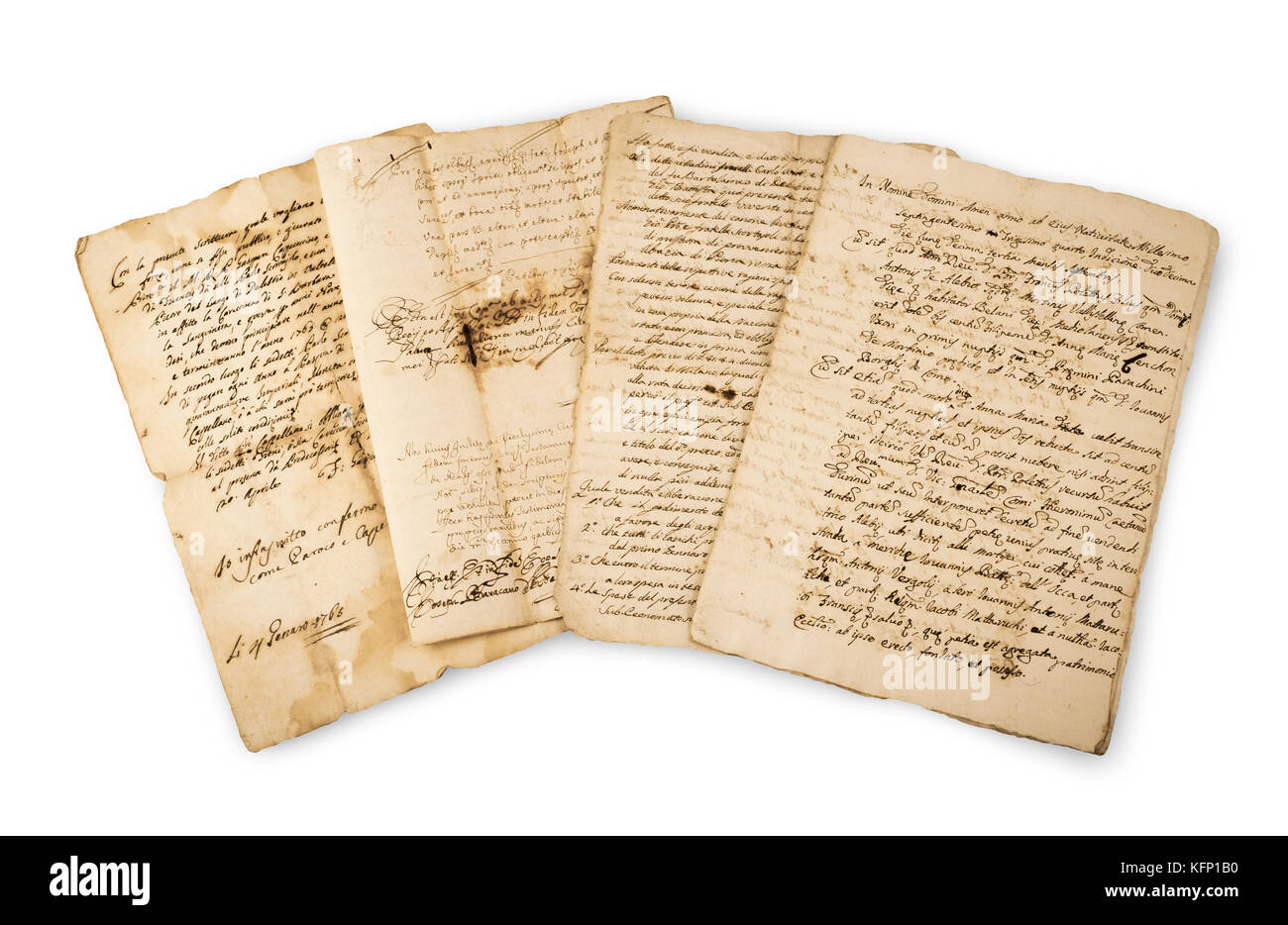 Pile of olds vintage manuscripts isolated on white - Stock Image