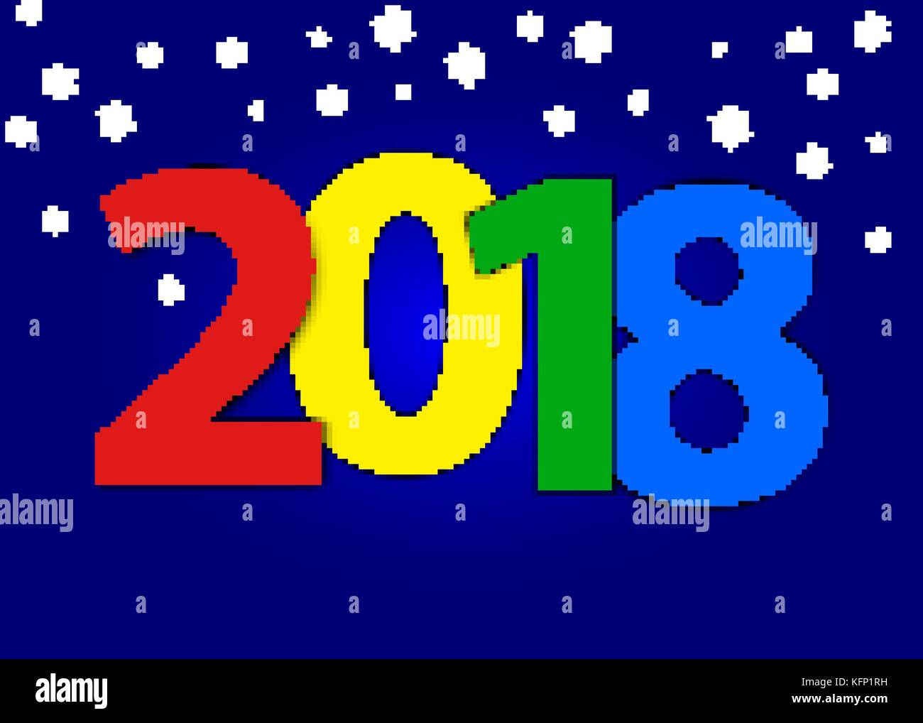 2018 Happy New Year Greeting Card with shimmer numbers and scattered blue on black background. Merry Christmas invitation Stock Vector
