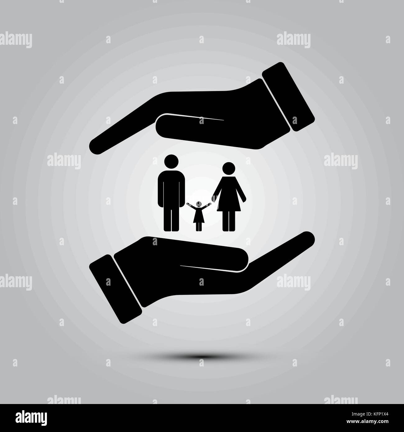 Family life insurance sign icon, vector illustration. Flat design style - Stock Vector