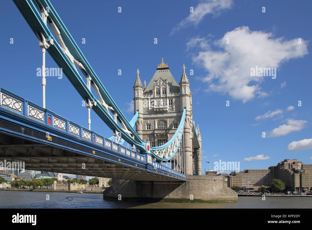 the historic tower bridge across the river thames in london Stock Photo