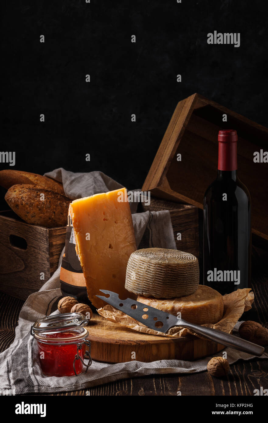 Composition with cheese, bread and wine Stock Photo