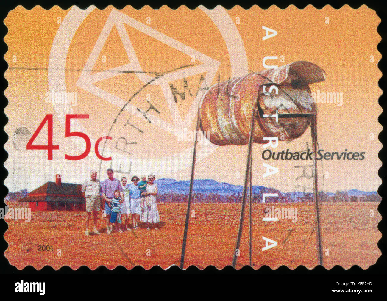 Australian Postage stamp - Outback Australian Postage stamp - Outback - Stock Image