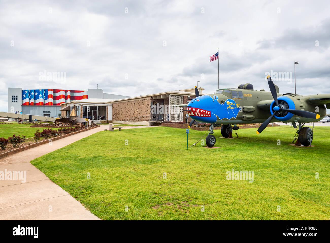 USS Alabama Battleship Memorial Park in Mobile, Alabama, USA. The park has a collection of notable military aircraft - Stock Image