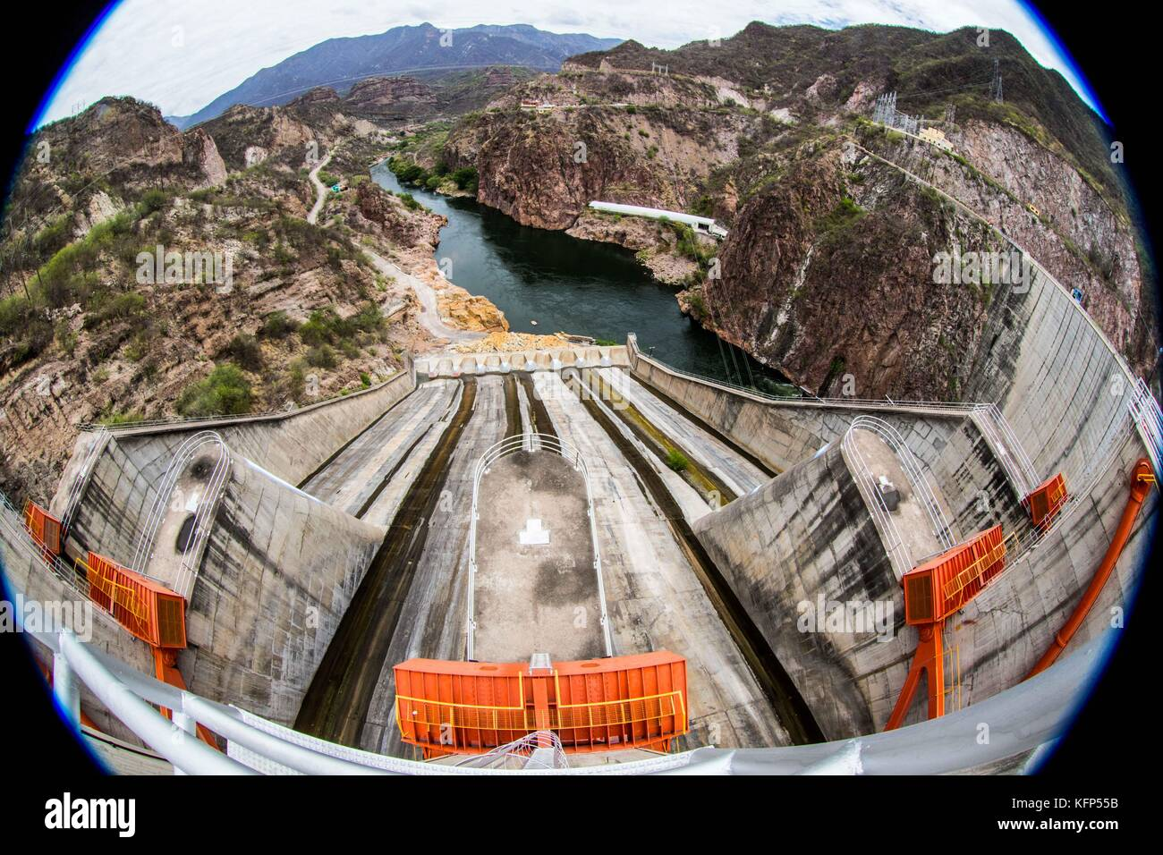 DAM. Spillway of the dam, the Novillo, in the municipality of Soyopa. Here are hydroelectric facilities operated - Stock Image