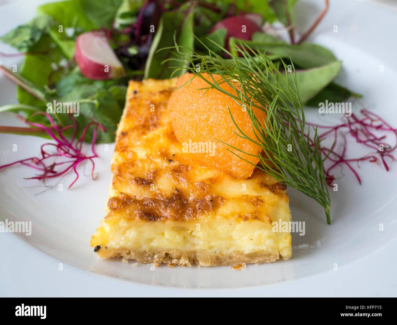 Tart with vendace roe from from Spiken at Restaurang Sjöboden, a restaurant by Petter Nordgren, West Sweden. - Stock Image