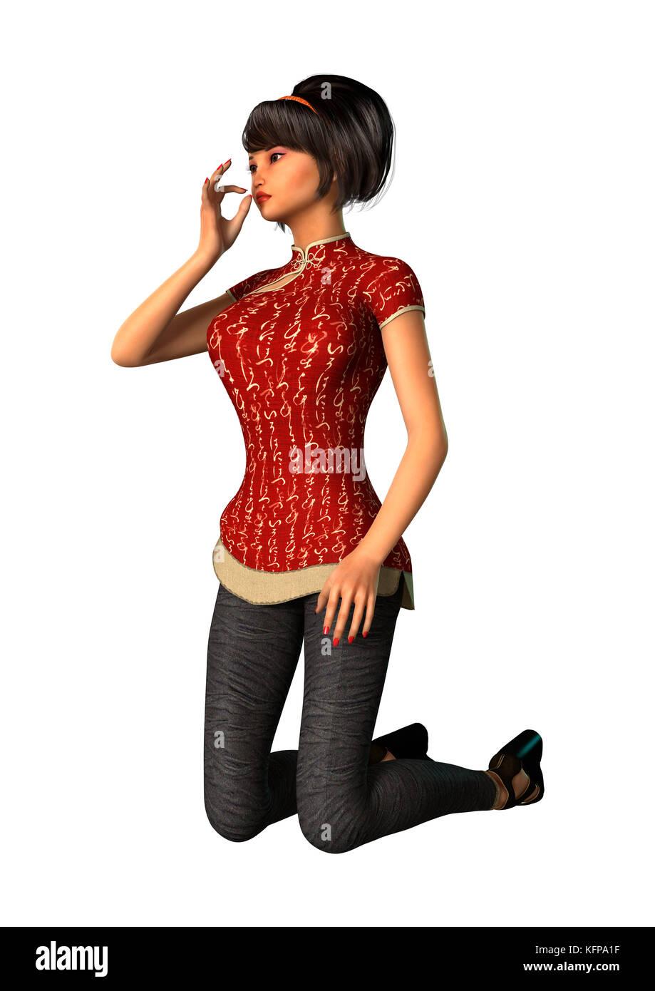 3D Asian Girl 3d rendering of a modern asian girl isolated on white