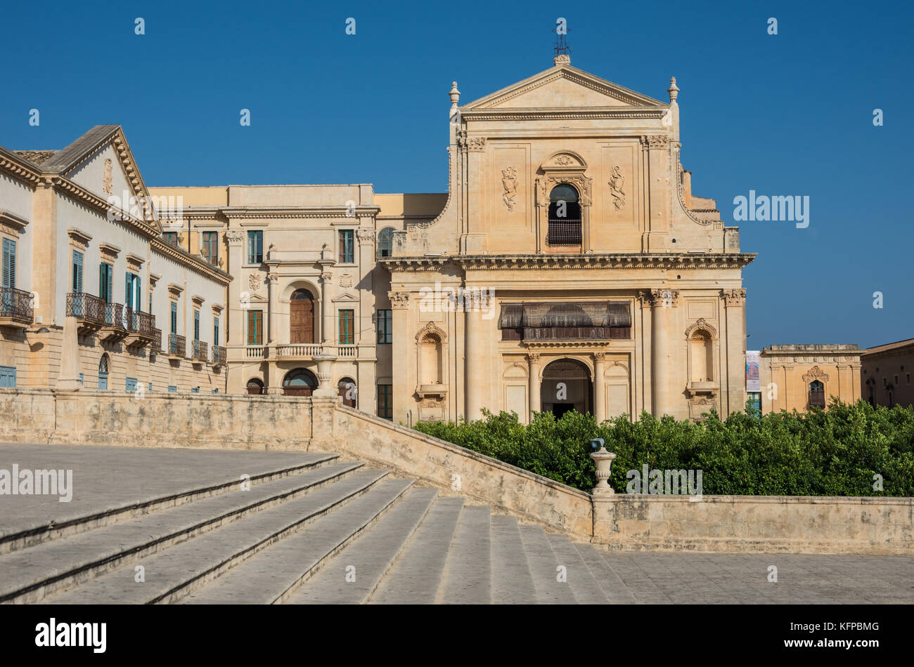 Noto, Italy - September 01, 2017: Basilica of saint savior (san salvatore) in Noto. View from stairway of cathedral - Stock Image