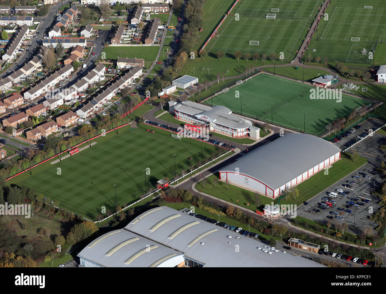 aerial view of Liverpool FC Academy, UK Stock Photo