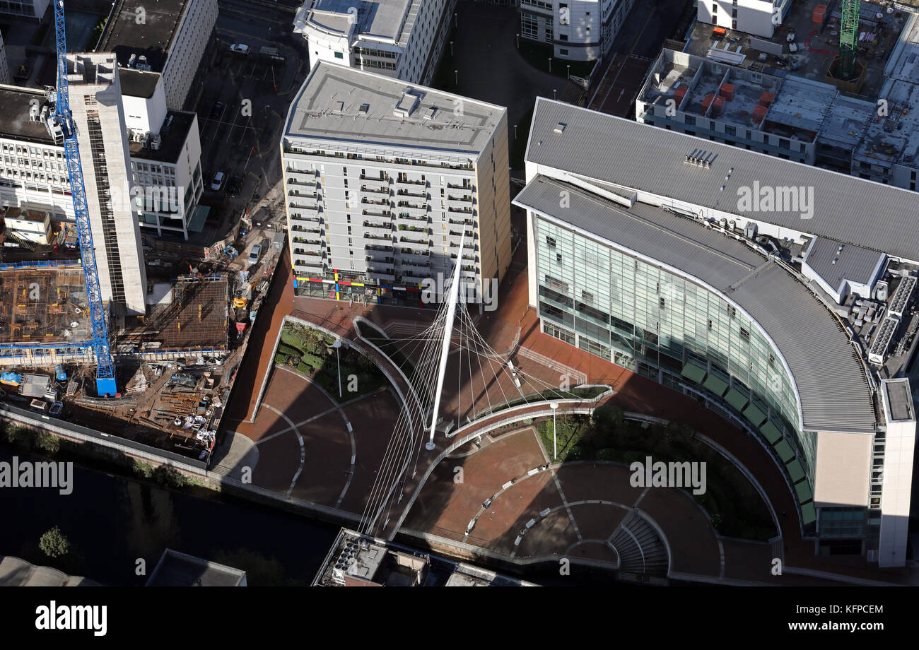 aerial view of the Lowry Hotel & Trinity Bridge, Manchester, UK - Stock Image