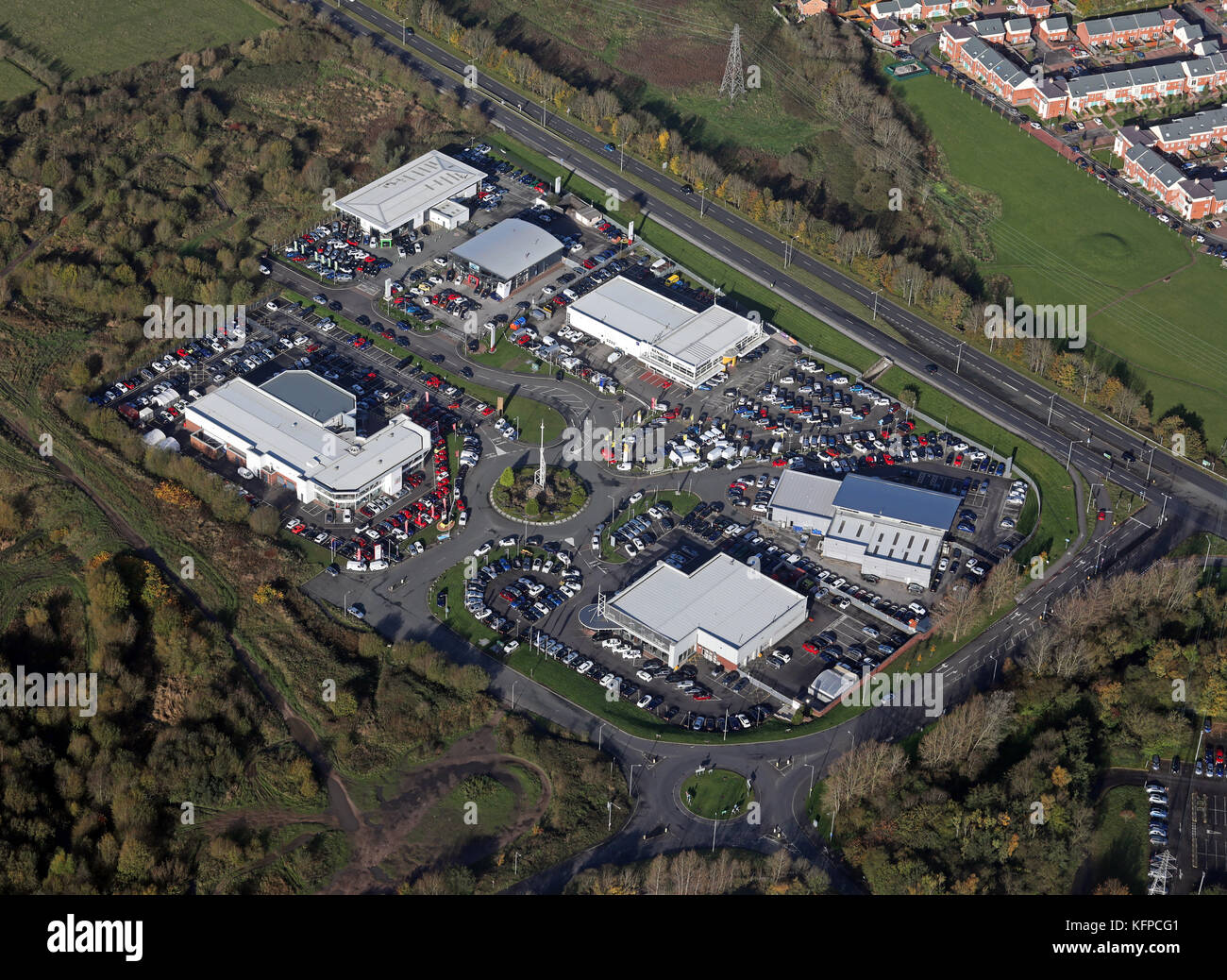 aerial view of Riversway Motor Park, Preston PR2 2TY - Stock Image