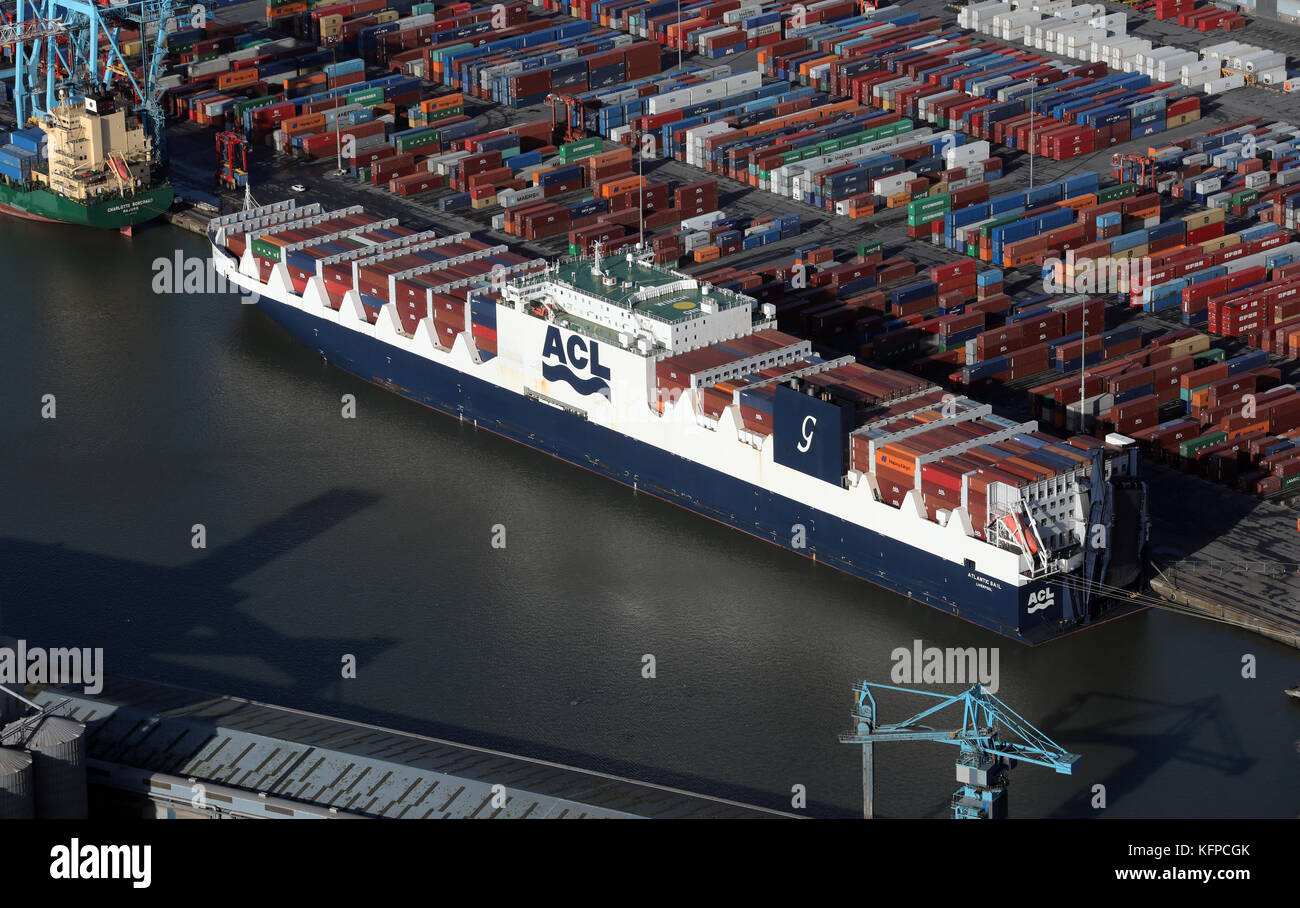 aerial view of Atlantic Sail at Seaforth Docks, a container terminal, on the River Mersey, UK - Stock Image