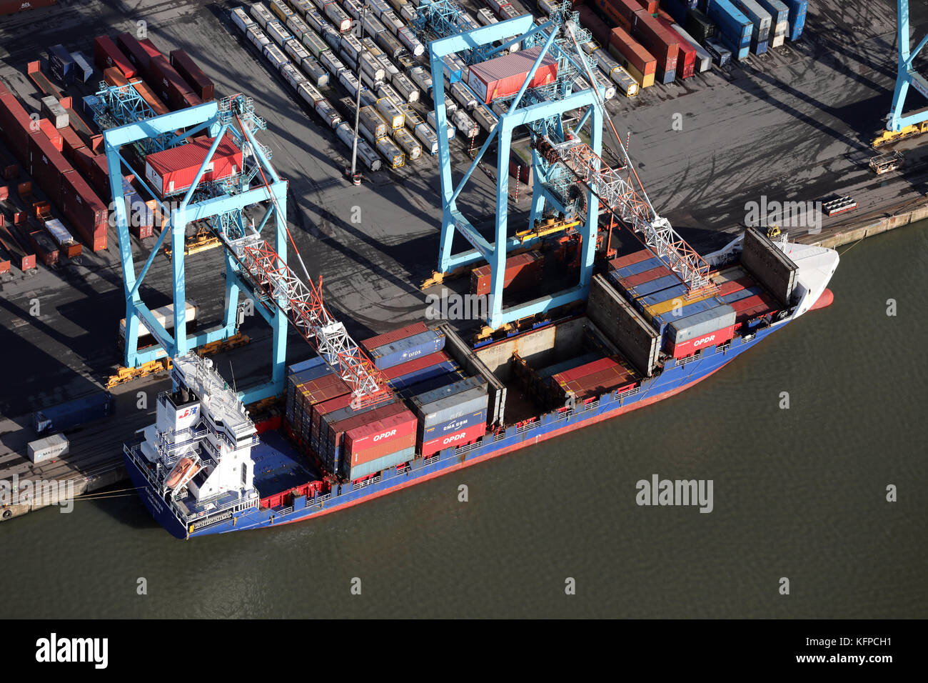 aerial view of Encounter at Seaforth Docks, a container terminal, on the River Mersey, UK - Stock Image