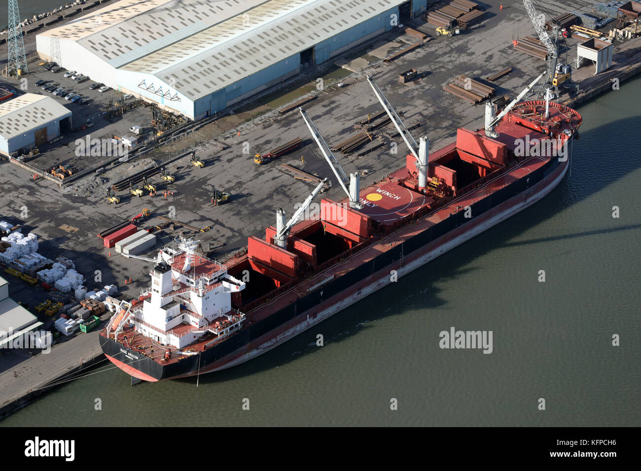 aerial view of MV Sage Amazon at Seaforth Docks, a container terminal, on the River Mersey, UK - Stock Image