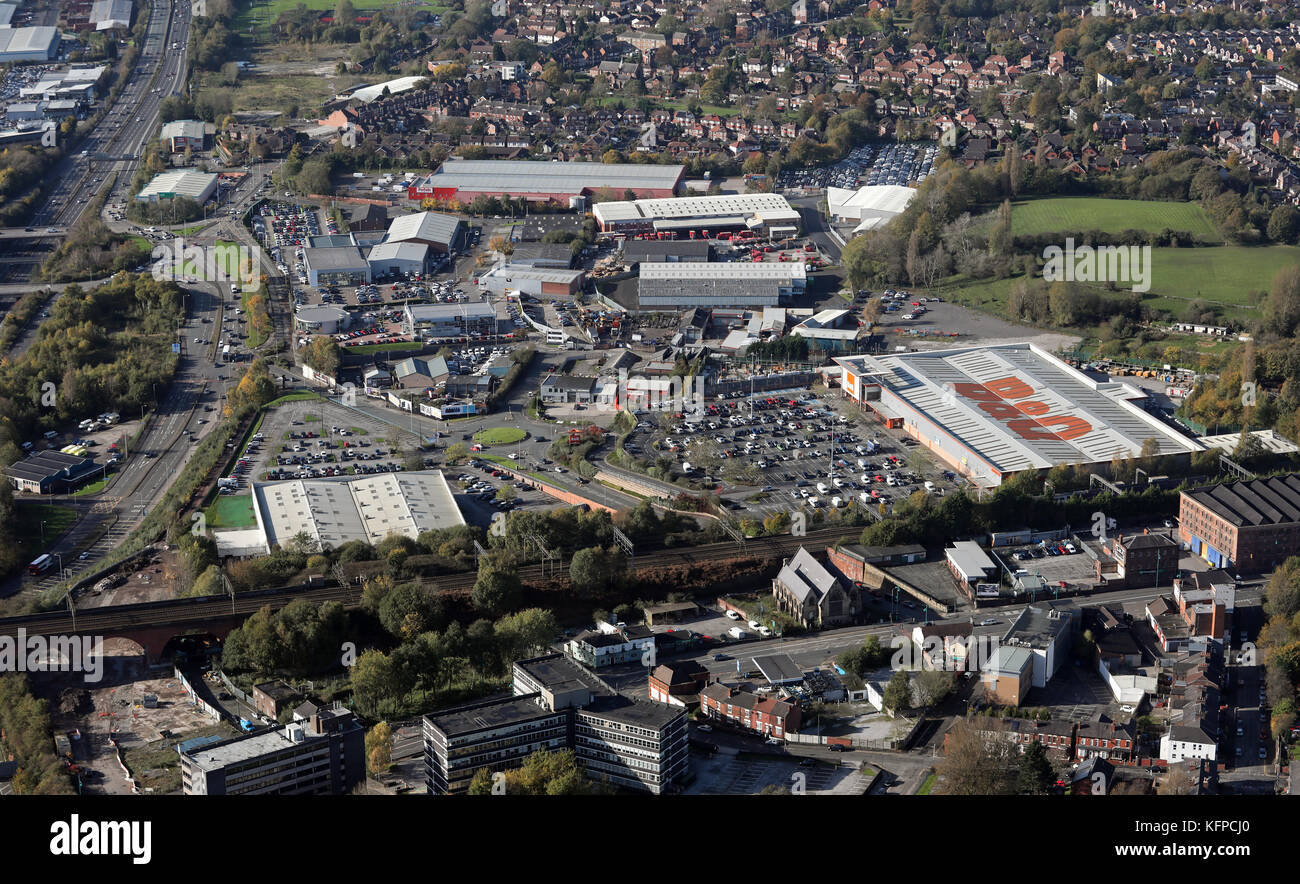 aerial view of the B&Q at Stockport - Stock Image