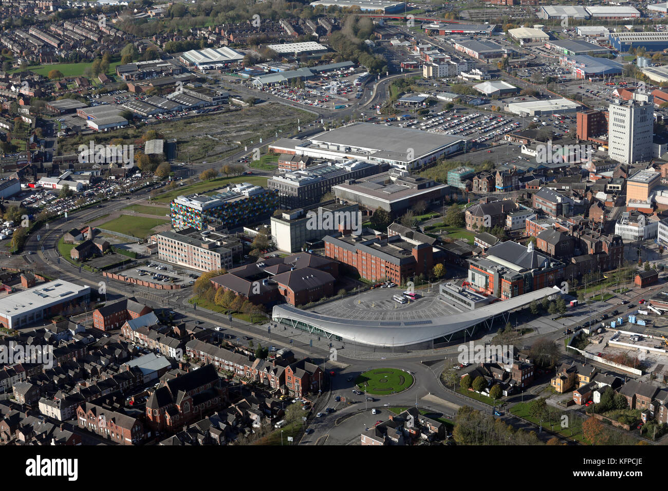aerial view of Stoke city centre, Staffordshire, UK - Stock Image