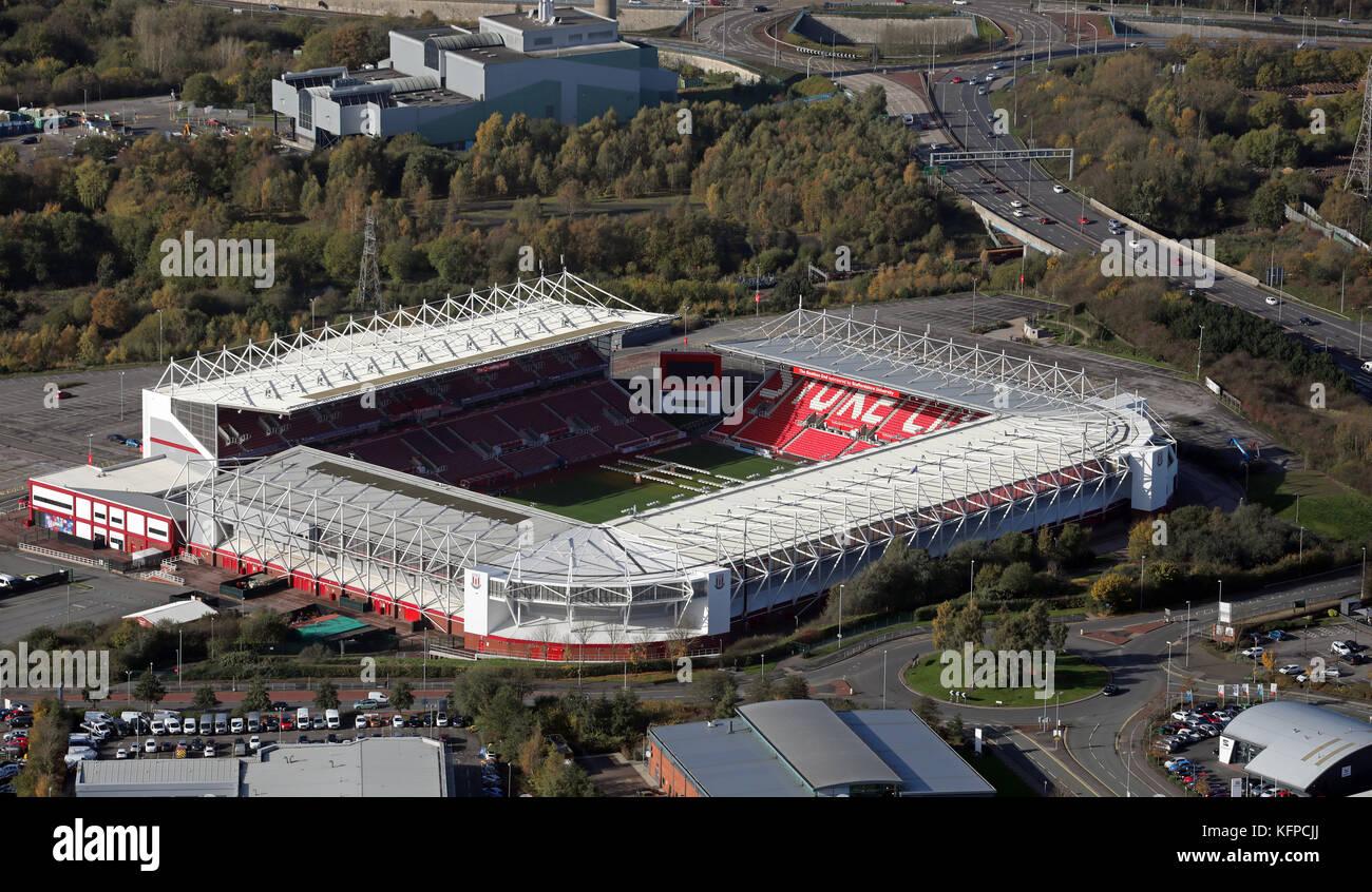 aerial view of Stoke City Bet365 Stadium, UK - Stock Image