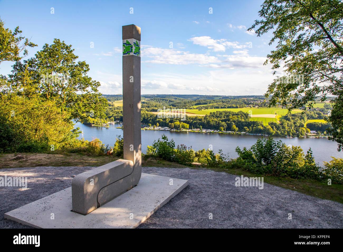 view over the Baldeneysee in Essen, North Rhine-Westphalia, Germany, a reservoir of river Ruhr, viewpoint Korte - Stock Image
