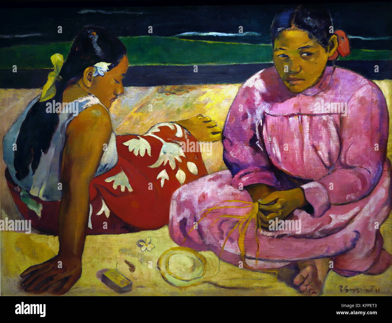 Tahitian Women on the Beach 1891 by Paul Gauguin - Eugène Henri Paul Gauguin 1848 – 1903 was a French post - Stock Image