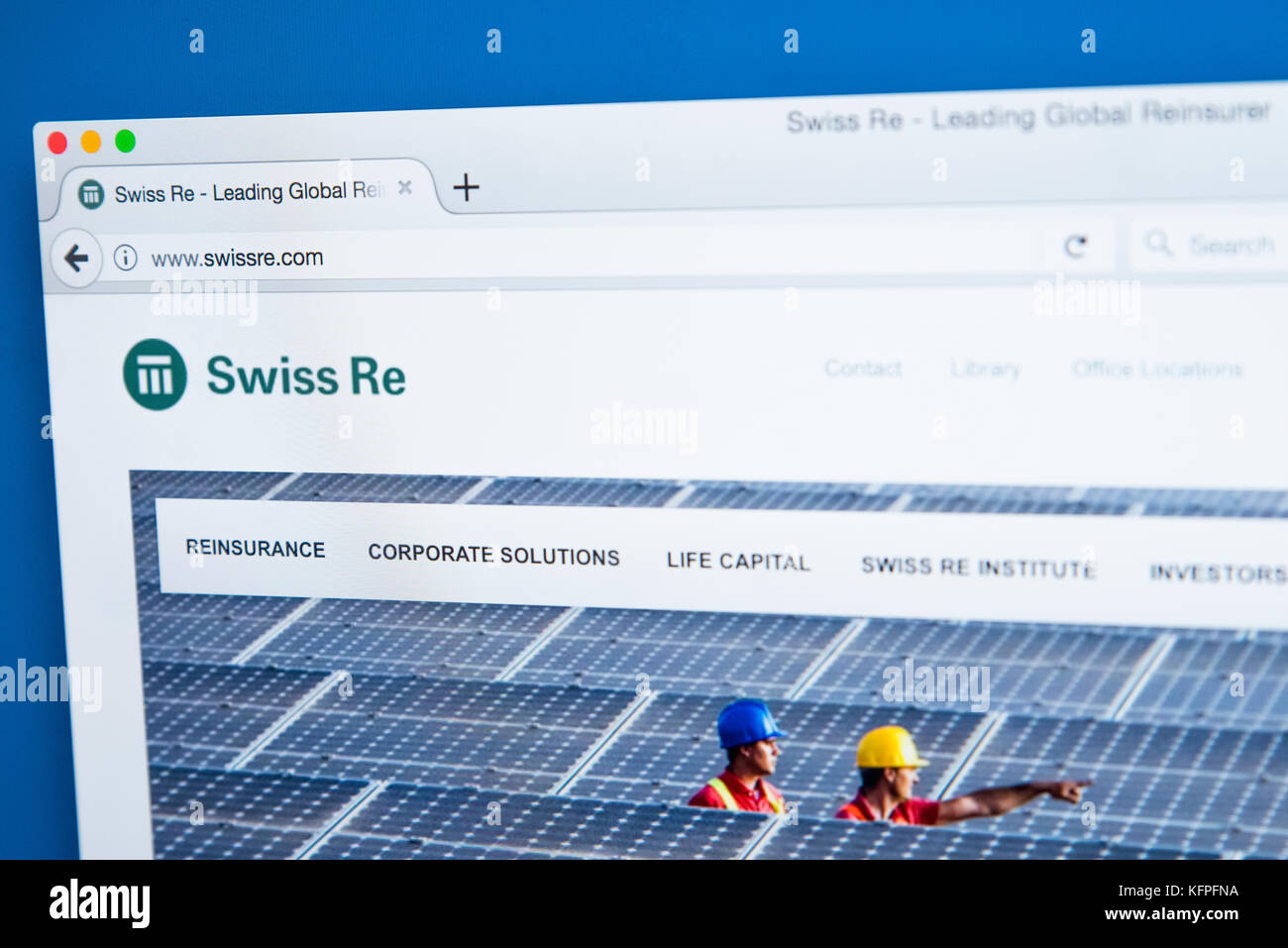 LONDON, UK - OCTOBER 25TH 2017: The homepage of the official website for Swiss Reinsurance Company Ltd - it is the - Stock Image