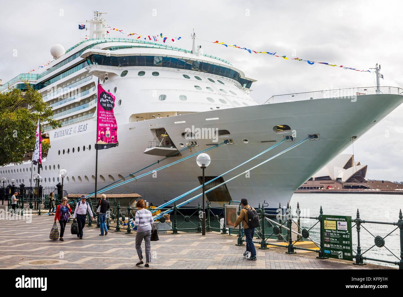 Sydney, Australia. 31st Oct, 2017. Cruise ship Radiance of the Seas operated by Royal Caribbean International arrives - Stock Image
